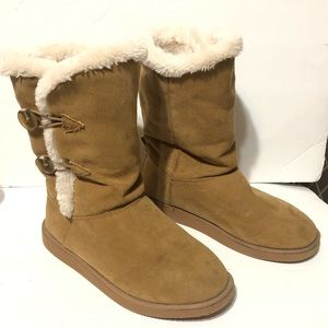 Old Navy Tan Faux Suede Snow Winter Boots